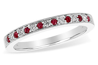 B238-33298: LDS RUBY/DIA WED RG .12 RUBY .21 TGW